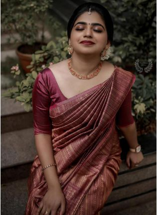 Ravishing Purple Color Silk Base Saree With Matching Blouse