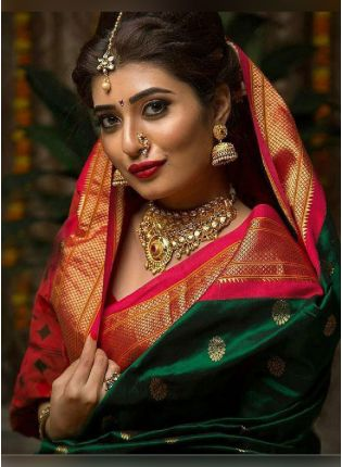 Traditional Bottle Green Color Silk Base Saree With Red Color Blouse