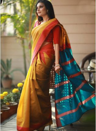 Beautiful Look Ochre Yellow Color Pure Silk Base With Contrast Red Color Blouse