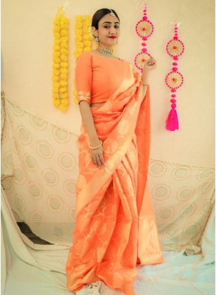 Coral Yellow Bollywood Saree With Silk Weave Finish