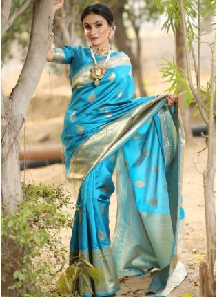 Turquoise Blue Bollywood Saree With Silk Weave Finish