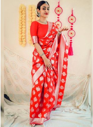 Bright Red Bollywood Saree With Silk Weave Details