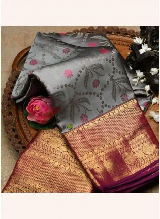 Silvery Grey Bollywood Saree With Silk Weave Details