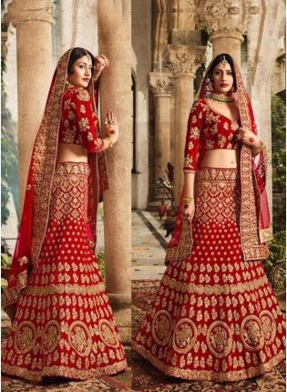 Red Dori And Zari Tafetta Silk A-Line Lehenga Choli