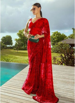 Red Sequins Lace Soft Net Banarasi Silk Embroidered Saree