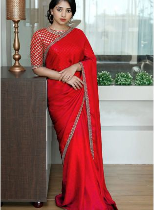 Red Sequin Silk Embroidered Saree For Sangeet