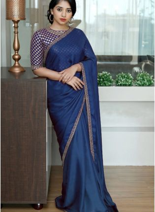 Blue Sequin Silk Embroidered Saree For Reception