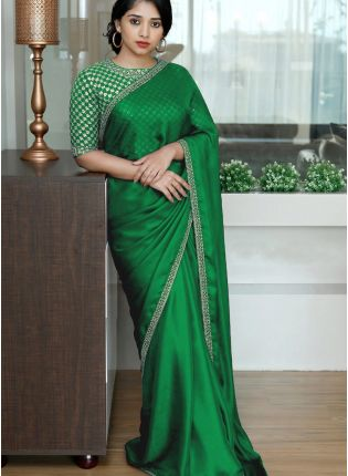 Green Sequin Silk Embroidered Saree for Sangeet
