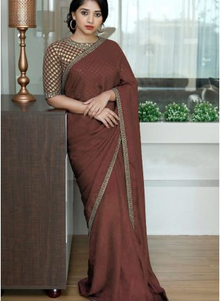 Brown Sequins Dori Silk Festive Embroidered Saree