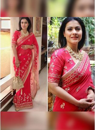 Red Color Designer Party Wear Georgette Base Saree