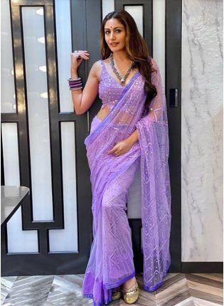 Fantastic Lavender Purple Soft Net Base Foil Mirror Saree