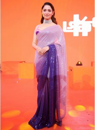 Royal Purple Party-Wear Georgette Saree With Sequins Work