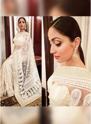 White Color Heavy Thread Work Party Wear Designer Saree