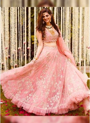 Extraordinary Peach Pink Soft Net Base Embroidered Lehenga Choli