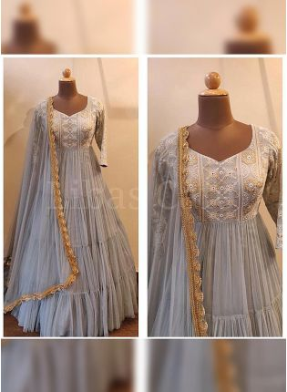 Majestic Light Grey Embroidered Georgette Base Flared Ruffle Gown