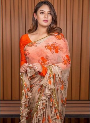 Wonderful Peach And Orange Georgette Base Digital Printed Saree