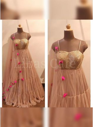 Elegant Peach Colored Georgette Base Sequin Work Flared Salwar Suit