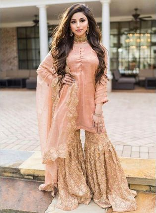 Stunning Peach Pink Colored Georgette Ethnic Designer Sharara Suit