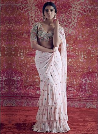 Pink Resham Lace Mirror Zari Georgette Embroidered Saree