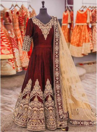 Admirable Maroon Velvet Base Embroidered Anarkali Style Suit