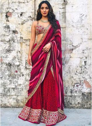 Outstanding Maroon Crepe Base Trendy Sharara Suit