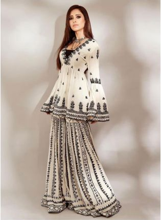 Elegant Off-White Georgette Palazzo Salwar Suit Set