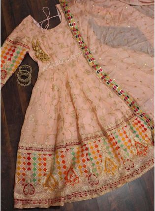 Traditional Peach Resham Moti Zari Georgette Anarkali Suit