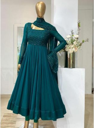 Peacock Blue Color Georgette Base Embroidery Work Designer Gown