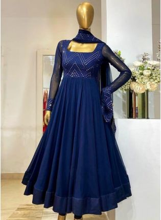 Eye-captivating Royal Blue Color Georgette Base With Embroidery Work Designer Gown