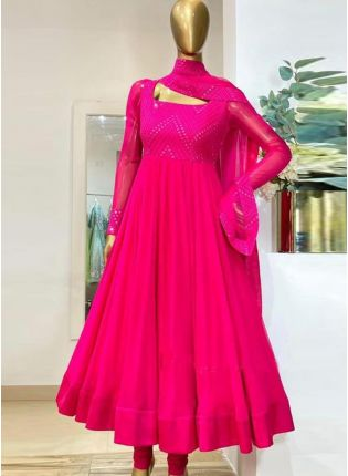 Eye-captivating Pink Color Georgette Base With Embroidery Work Designer Gown