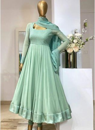 Eye-captivating Sea Green Color Georgette Base With Embroidery Work Designer Gown