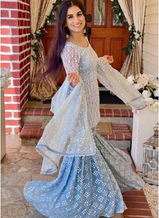 Sky Blue Color Soft Net Base With Embroidery Work Sharara Type Palazzo suit
