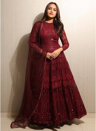 Gorgeous maroon color Designer Ethnic Wear