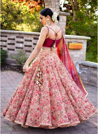 Majestic Peach Pink Art Silk Zari And Resham Work Lehenga Choli