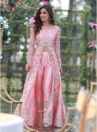 Baby Pink Color Taffeta Silk Base Heavy Embroidery Work Slit Cut Suit