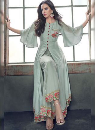 Sea Green Color Silk Base Heavy Embroidery Work Salwar Kameez Suit