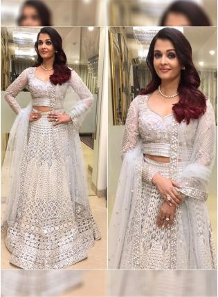 Trendy White Color Net Base Lakhnavi Work Designer Lehenga Choli