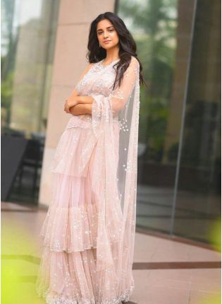 Baby Pink Color Soft Net Base Party Wear Saree With Embroidered Work