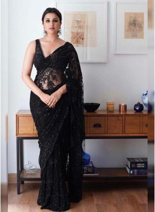 Classic Black Color Party Wear Net Base Embroidered Saree
