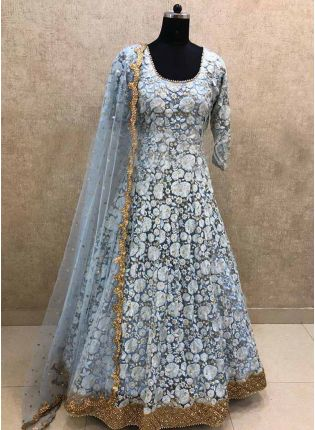 Elegant Grey Color Georgette Base Thread Work Salwar Kameez Suit