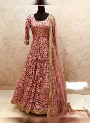 Peach Party Wear Georgette Anarkali Suit with Pearl Work