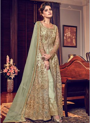 Pista Green Color Party Wear Designer Wedding Wear Slit Cut Anarkali Suit