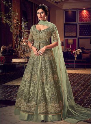 Sage Green Soft Net and Stone and Zari Work Anarkali Suit