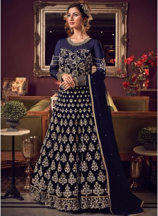 Delightful Navy Blue Soft Net Base Stone And Dori Work Salwar Suit