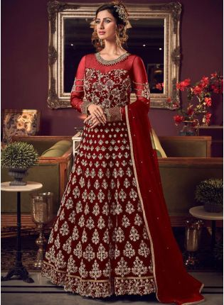 Remarkable Ruby Red Soft Net Base Dori And Stone Work Salwar Suit