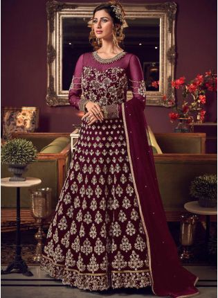 Mesmerizing Purple Soft Net Base Stone And Dori Work Salwar Suit