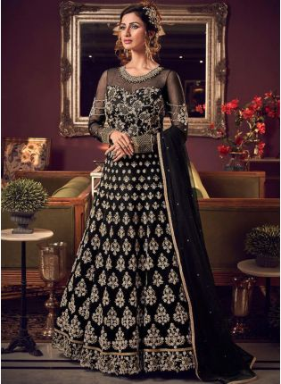 Impressive Black Soft Net Base Stone And Dori Work Salwar Suit