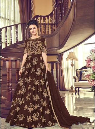 Brown Net Base Embroidery And Stone Work Floor Length Anarkali Suit