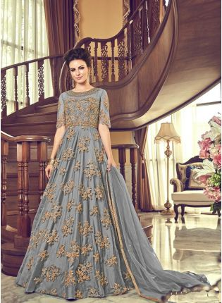 Gray Heavy Net Base Embroidery And Floor Length Anarkali Suit