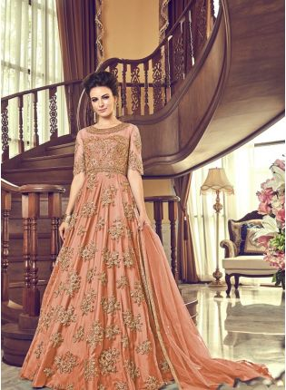 Peach Net Base Embroidery And Stone Work Floor Length Anarkali Suit